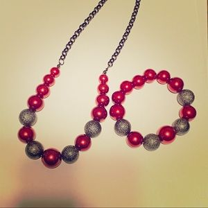 Red and Silver Bead Necklace